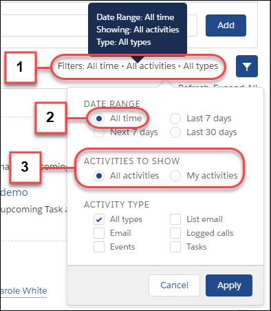 tasks activity timeline