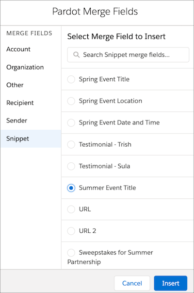 Merge field picker modal appears with Snippet selected on the left pane and a list of associated snippets on the right.