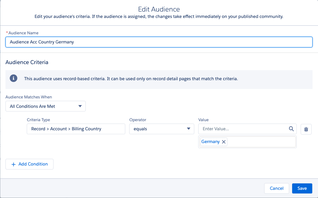 Experience Builder Audience Based on Record Detail Information